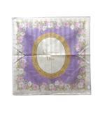 クリスチャンディオール Christian Dior スカーフ 花柄 ストライプ 紫 パープル ベージュ コットン X