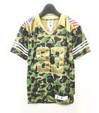 アディダス adidas アベイシングエイプ A BATHING APE コラボ FB JERSEY BAPE Tシャツ ゲームシャツ フットボール カモフラ 迷彩 星条旗 XS DW9285 0202