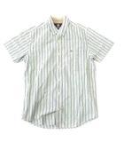 ティンバーランド Timberland シャツ 半袖 コットン ストライプボタンダウン 胸刺繍 ポケット M/M 緑系 0530