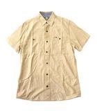 ティンバーランド Timberland シャツ 半袖 Wポケット 綿100% コットン インド製 ロゴプレート S/P ベージュ系 0530
