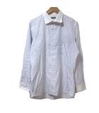 伊勢丹メンズ シャツ 長袖 ストライプ 白 紫 ホワイト パープル コットン 胸ポケット X