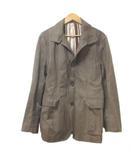 ピーピーエフエム PPFM ジャケット 上着 ストライプ 背抜き 茶 ブラウン M コットン 胸ポケット IBS48 X