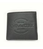 コーチ COACH ダブル ビルフォード ウォレット 二つ折り財布 ロゴ レザー 黒 ブラック 0227