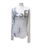 ディーゼル DIESEL 長袖 Tシャツ カットソー 装飾チェーン プリント ライトグレー M コットン X