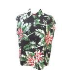 デュラス DURAS ノースリーブシャツ ボタニカル レーヨン リネン混 黒 緑 赤 ブラック グリーン レッド F フリー X