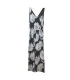 リエンダ rienda ダリアフラワーロンパース オールインワン 花柄 黒 ブラック グレー フリー ウエストゴム X
