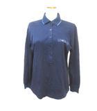 レオナールスポーツ LEONARD SPORT ポロシャツ 長袖 紺 ネイビー L ロゴ刺繍 RRR X