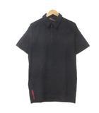 プラダスポーツ PRADA SPORT ポロシャツ 半袖 ジップ シャツ 黒 ブラック L ストレッチ ECR2 X