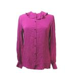 クリスチャンディオール Christian Dior ヴィンテージ シャツ 長袖 シルク 絹 フリル 紫 パープル 総柄 ロゴ M ECR3 X
