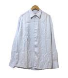 エルメス HERMES ビジネスシャツ 長袖 ドレスシャツ ワイシャツ ストライプ 水色 S コットン ECR5 ☆AA★ X