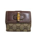 グッチ GUCCI バンブー 財布 二つ折り財布 GGキャンバス 小銭入れあり ベージュ系 茶 ブラウン RRR X