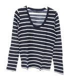 ギャルリーヴィー GALERIE VIE トゥモローランド ボーダー Tシャツ カットソー 1 ネイビー ホワイト 紺 白 長袖 トップス
