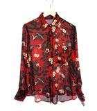 ザラ ZARA ボタニカル プリント ブラウス M シャツ レッド 赤 トップス 長袖 花柄