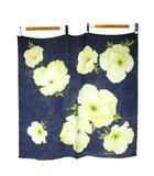 ジュンコシマダ JUNKO SHIMADA シルク100% 大判 スカーフ 花柄 フラワー柄 絹 ネイビー 紺色