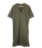 アダムエロペ Adam et Rope' Tシャツ ワンピース Vネック 38 グレー系 半袖 コットン