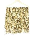 インゲボルグ INGEBORG カモフラージュ フラワー プリント ストール 花柄 カーキ バンブー シルク 絹 スカーフ ショール