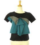 バイカラー ドッキング Tシャツ ビスチェ F 2020SS グリーン系 青緑系 ブラック 黒 F カットソー 半袖 トップス