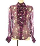 フラワー プリント シルク ブラウス フリル 38 パープル 紫 シアー シースルー シャツ 長袖 トップス 絹 花柄