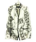ジャストカヴァリ JUST cavalli プリント ジャケット 40 オフホワイト 白 ブラック 黒 アウター 上着 総柄