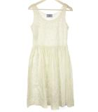 プラダ PRADA 総刺繍 ワンピース 40 オフホワイト 白 ノースリーブ コットン 綿