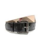 バーバリー BURBERRY チェック ベルト PVC レザー エナメル 34 85 ベージュ系 ブラック 黒