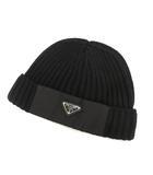 プラダ PRADA Re Nylon ギャバジン x ウール キャップ ニット 2021AW ブラック 黒 L トライアングル 三角プレート UMD446 帽子 ヘッドウェア