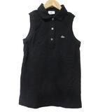 ラコステ LACOSTE ポロシャツ ノースリーブ 黒 ブラック ワンポイント 38 コットン X