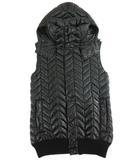 エーケーエム AKM × デュベティカ DUVETICA ヘリンボーン ダウン ベスト フード ダブルジップ 黒 ブラック L Y8652