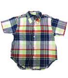 ラルフローレン RALPH LAUREN チェック ボタンダウン シャツ 半袖 トップス コットン 紺 ネイビー 黄緑 ライトグリーン ベビー 90 男の子 Y9298