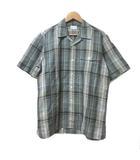 バーバリーズ Burberrys シャツ 半袖 チェック リネン混 麻混 開襟 緑 M 胸ポケット IBS15 X