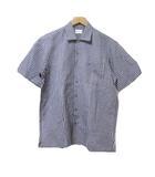 バーバリーズ Burberrys シャツ 半袖 チェック リネン混 麻混 紺 ネイビー 胸ポケット ワンポイント MA IBS15 X
