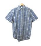 バーバリーズ Burberrys シャツ 半袖 綿麻 リネン混 チェック 紺 ネイビー M 胸ポケット ワンポイント IBS15 X