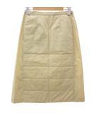 シャネル CHANEL スカート 膝丈 ボタンスリット スクエアキルティング コットン ウエストゴム ベージュ 36 IBS15 Y9390