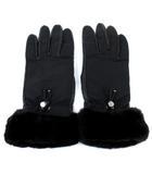 プラダ PRADA 手袋 グローブ 5本指 ラムレザー ナイロン コンビ ビーバーファー 内側カシミヤ 7 黒 ブラック イタリア製 IBS15