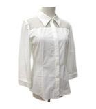 フォクシーニューヨーク FOXEY NEW YORK シャツ ブラウス 肩シースルー 七分袖 ストレッチ 比翼ボタン 40 白 ホワイト IBS15 〇Y61