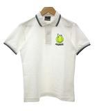 ビームスティ BEAMS T PEANUTS スヌーピー ポロシャツ カットソー 半袖 コットン ライン テニスボール 白 ホワイト 紺 ネイビー XS