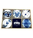 ディズニー Disney ミッキーマウス 染付 小皿揃い 5枚 セット 和食器 ブルー 紺 ネイビー 隠れミッキー 三郷陶器 箱付き A