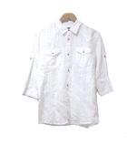 カスタムカルチャー CUSTOM CULTURE BLACK シャツ 七分袖 リネン 麻 総柄 ロールアップ袖 白 ホワイト 44 胸ポケット X