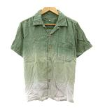ゴーヘンプ GO HEMP シャツ 半袖 オープンカラー グラデーション 緑 グリーン S