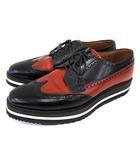 プラダ PRADA ウイングチップ レザー ドレス シューズ レースアップ 厚底 メダリオン バイカラー 9 約28cm 黒 ブラック レッド 革靴 紳士靴 FNM A