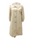 コトゥー COTOO ステンカラー コート 七分袖 シルク Aライン フレア 薄手 パフスリーブ ベージュ 38 FNM