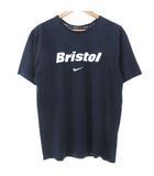 エフシーレアルブリストル F.C.Real Bristol FCRB × ナイキ NIKE DRI-FIT BRISTOL SWOOSH TEE Tシャツ カットソー 半袖 ロゴ プリント クルーネック 紺 ネイビー L