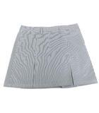 アディダス adidas ストライプ スコート スカート ミニ ゴルフ ウェア ボックスプリーツ グレー 白 ホワイト L Y