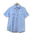 ソフネット SOPHNET. シャツ 半袖 チェック 青 ブルー L コットン 胸ポケット X