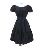 ミュウミュウ miumiu 14年製 メタリックカラー ドレス フレア ギャザー ワンピース ひざ丈 パーティー 二次会 38 紺 ネイビー S291 IBS24