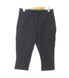 プラダ PRADA パンツ 黒 ブラック 国内正規 タック クロップド 7分丈 七分丈 ストレッチ M コットン IBS25 X