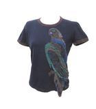 プラダ PRADA 半袖 Tシャツ カットソー 国内正規 ダメージ加工 アップリケ 紺 ネイビー S コットン シルク IBS25 X