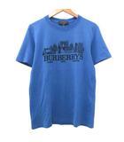 バーバリー BURBERRY Tシャツ 半袖 ロゴ刺繍 クルーネック カットソー コットン トップス イタリア製 正規品 XXS 青 ブルー S IBS35