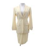 グッチ GUCCI スーツ スカート スリム ジャケット セットアップ 無地 イタリア製 正規品 入学式 イベント 式典 38 白 オフホワイト IBS35