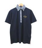 キャロウェイ CALLAWAY ゴルフ ポロシャツ 半袖 襟ギンガム ロゴ刺繍 ドライシャツ スポーツウエア L 紺 ネイビー S767 IBS35